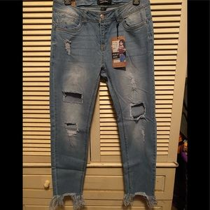 Distressed Push Up Ankle Jeans